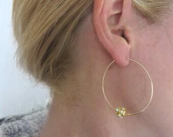 Gold Hoops, Large Hoops, Rhinestone, Bling, Women, Gold Wire Hoop Earrings
