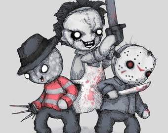 Horror Trifecta Plushie Fine Art Print