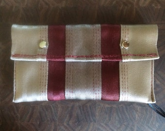 Snap Pouch-Tan/Red w red thread