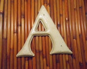 """Vintage Gerber St. Louis Plastic Molded 7 Inch Letter """"A"""" Indoor Outdoor Thick Wood Grain Paintable For Nursery, Business, Monogram Wreaths"""