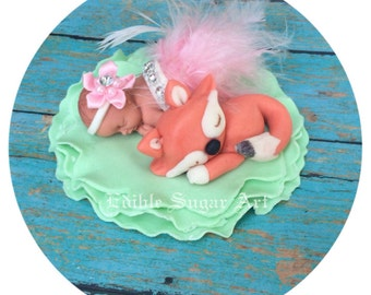 WOODLAND FOX BABY SHOWEr Deer Cake Topper Fondant cake topper