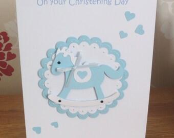 Baby boy Christening, Baptism, Blessing, Blue, Handmade card