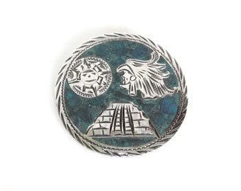 Vintage Sterling Silver Turquoise Pin Brooch Mexican Mayan Design Signed Mexico Sterling w Makers Mark