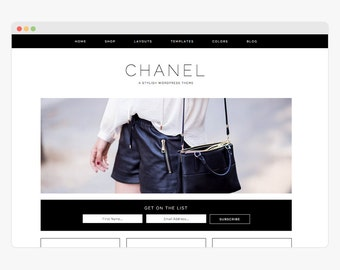 "Wordpress Theme - Wordpress Ecommerce Theme - Genesis Wordpress Website Theme - ""Chanel"" Instant Digital Download"