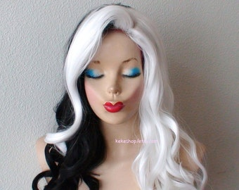 White / Black wig. Cosplay wig.  Half white half black Long curly hair wig. Custom wig. Adult Halloween Costume wig.