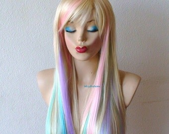 Blonde / Pastel colored hair wig. Fairy princess wig. Long straight hair wig. Durable Heat resistant synthetic wig for Cosplay/ daytime use.
