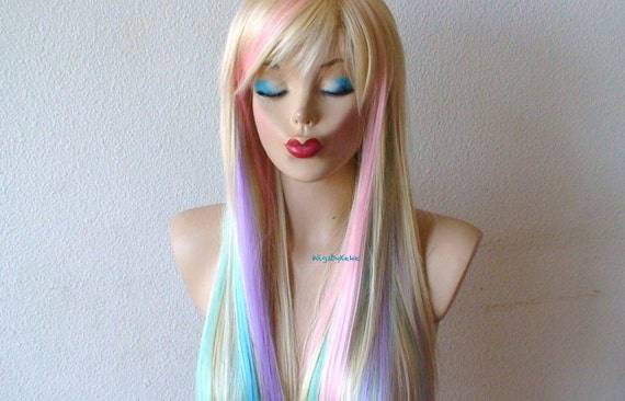 blonde pastel colored hair wig fairy princess wig long. Black Bedroom Furniture Sets. Home Design Ideas