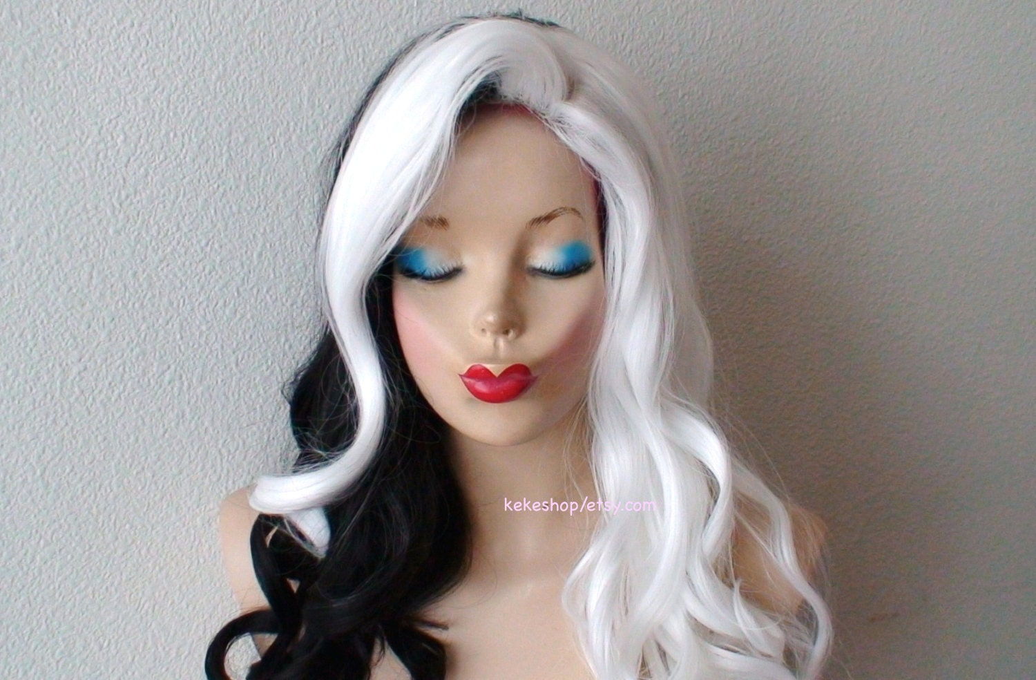 White Black Wig Lace Front Wig Cosplay Wig Half White