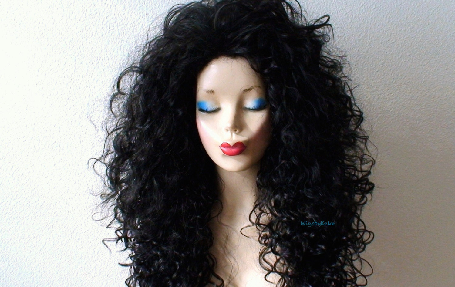 Black wig. Cosplay wig. Long curly extra volume hair wig. Drag