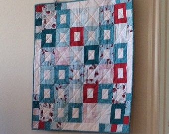 Quilted Christmas Holiday Wall Hanging Red Aqua White Table Centerpiece Table Decor