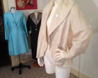 Fabulous 1940's Silk Linen Short Swing Coat/Jacket w/Ultra Detail