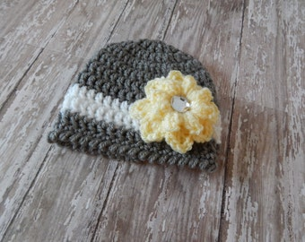 Crochet Baby Girl Hat - Newborn Hat - Photography Prop - Crochet Hat with Flower - Grey, White & Yellow