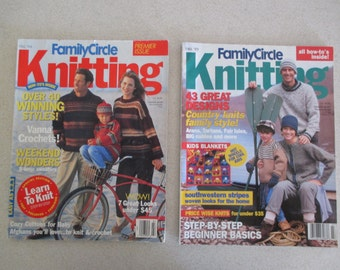 Family Circle Knitting 6 issues Fall 94, 95, 96 Winter 96-97 Fall 97 and Winter 00-01 of the Easy Knitting