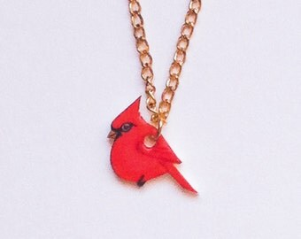 Hand drawn Red Cardinal necklace