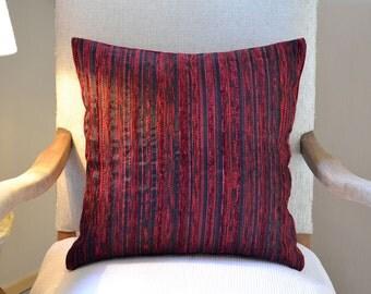 Deep Red Velvet Throw Pillow 18x18 inches Handmade Double Option Decorative Cushion Cover Velvet Chenille Stripes Pattern