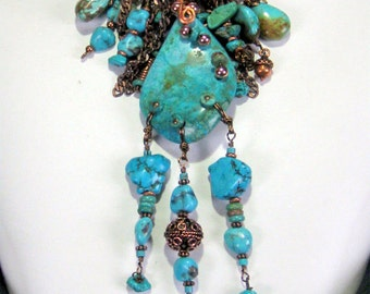 Turquoise Drops Statement Necklace Leather Bohemian Tribal Jewelry
