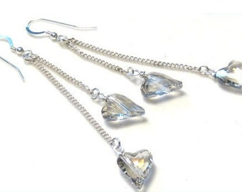 Wild Heart Clear Crystal Sterling Silver Earrings Valentines Day