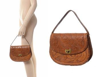 Vintage 60s 70s Tooled Leather Satchel Bag 1960s 1970s Floral Tooling Hippie Artisan Bohemian Rockabilly Flap Purse Handbag