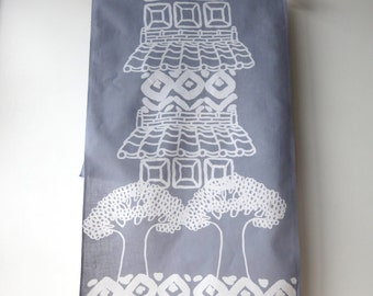 Tenugui, tea towel, hand dyed, discharge print, cotton, gray, tree, bird, Japanese traditional house, kimono, men's gift