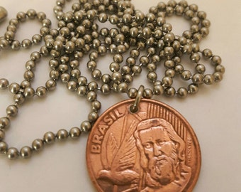 2004 Coin Necklace - Brasil - Stainless Steel Ball Chain or Key-chain - 5 centavos