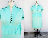 Plus Size - Vintage Mint Green Peplum Shirt Dress (Size 14)