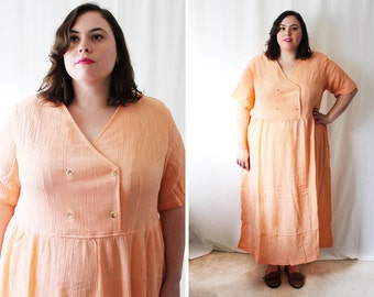 Plus Size - Vintage Orange Crinkled Gauze Double Breasted Maxi Dress (Size 1X)