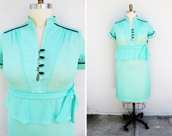 Plus Size - Vintage Mint Green Peplum Shirt Dress (Size 14)