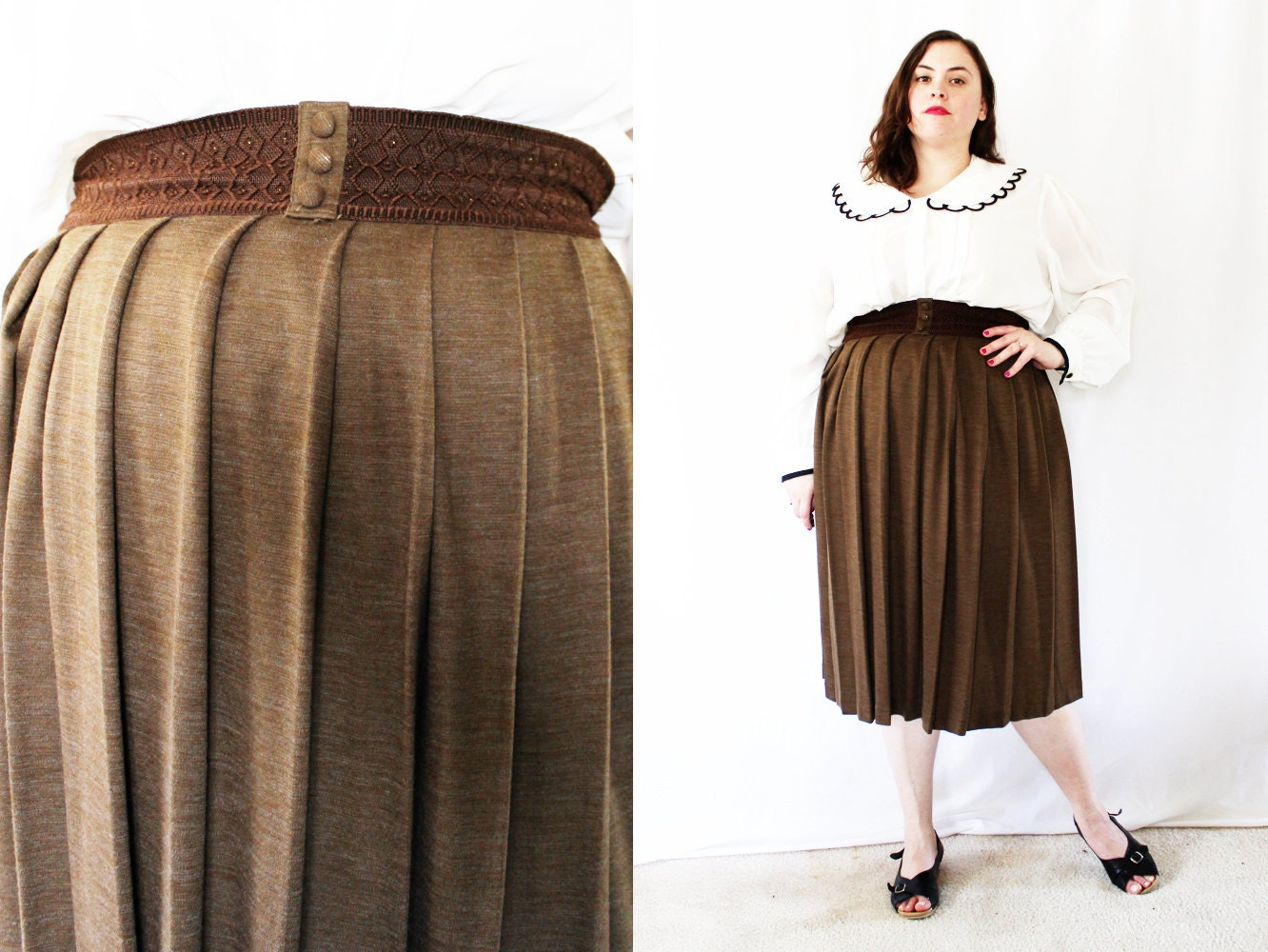 plus size heathered brown pleated swing skirt size 12 14