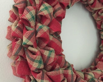 SALE! Christmas Plaid Burlap Wreath 20 Inches Rustic Country Red Green