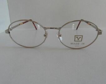 Vintage White Gold & Tortoiseshell Valentino Rudy Round Optical Frame