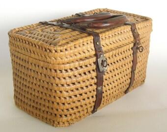 SALE Antique French Basket Purse, Hand bag