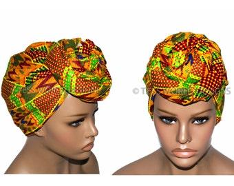 Kente Fabric African Hair Wraps/ African Head scarf/ African head wraps/ African Head wraps/ African Head Ties/  HT86