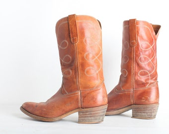 Size 10 Mens's Vintage Brown Leather Cowboy Boots
