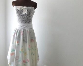Pixie Flower Print Wedding Dress, Garden Fairy Design