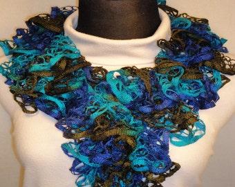 Navy/Brown/Blue Ruffle Scarf - Crocheted Ruffle Scarf - Ladies Crocheted Scarf - Dark Blue Ruffle Scarf