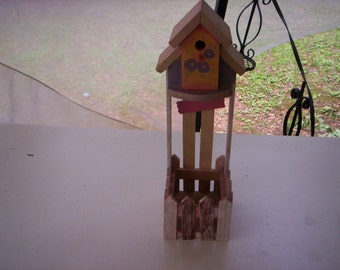 Farmland chic bird house/Chic bird house/wood bird house/Handmade bird house/Hand painted bird house/Wood planter/Bird house and planter
