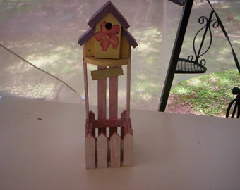 Farmland chic bird house/Chic bird house/wood bird house/Handmade bird house/Hand painted bird house/Wood planter/Bird house and planter