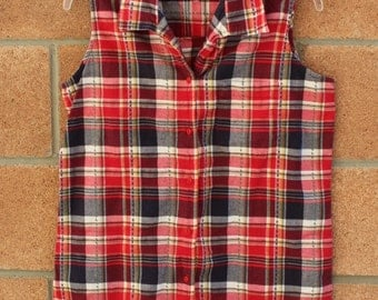 RED CHECKERED BLOUSE//Sleeveless //plaid blouse