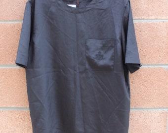 BLACK  BLOUSE // short sleeve blouse // vintage  blouse // round neck