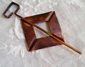 Copper fold formed shawl pin