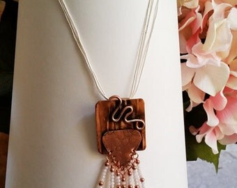 Hammered copper and crystal fringe necklace