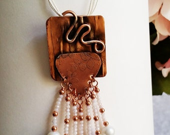 Hammered copper and crystal fringe necklace