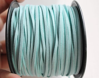 Light blue Suede cord - high quality soft faux cord 2 m - 2,18  yards or 6,5 feet