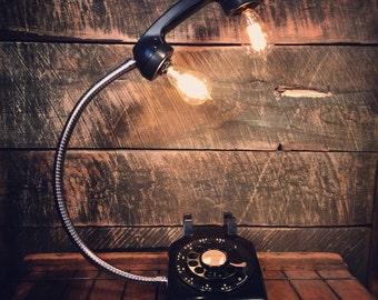 Vintage Black Rotary Phone Lamp - Gooseneck Desk Lamp, Home Office Decor