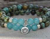 Lotus flower in sterling silver, Turquoise and Jade bracelets, purity, stacking unisex bracelet set, Zen, Yoga, positive energy