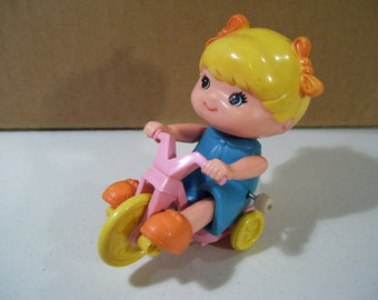 Vintage Tomy Kid A Long Kids Tricycle Girl Wind Up Toy, 1970's, Works