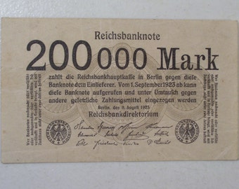 1923 Germany Reichs 200,000 Mark BankNote, Vintage German Banknote
