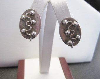 Mid-Century Mexican Design Taxco Sterling Earrings