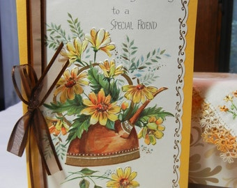 "Birthday Card with Vintage Handkerchief, Handmade Card ""for a Special Friend"" Hanky Hankie with Embroidery and Tatted Edge"
