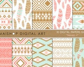 Digital Paper 'Navajo II' Mint, Coral and Bronze Ethnic Tribal Feathers Patterns for Journal Stickers, Cards, Scrapbook, Invitations...